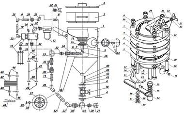 Сборочные чертежи пескоструйных аппаратов, компонентов, СИЗ пескоструйщика